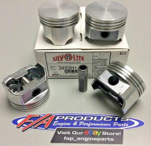 3.0 Liter Mercruiser Chevy Marine Flat Top Piston Set Of 4 Silvolite 3493H+.040