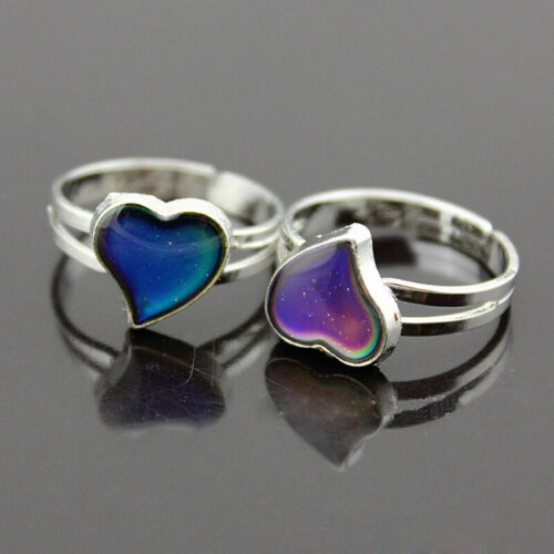 Color Changing Silver-Plated Adjustable Ring Band Heart-Shaped Mood,Ring Z2O8