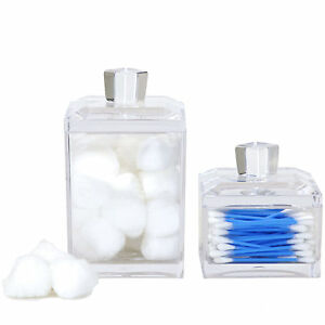 Set Of 2 Modern Square Acrylic Containers Cotton Balls