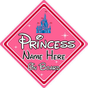 Princess Castle Personalised Disney Princess On Board Car Sign Baby On Board