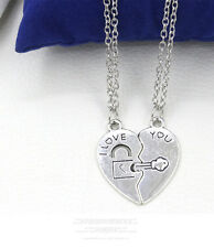 2PCS/Set I Love You Heart Pendant Silver Key Necklace Chain For lovers's Gift