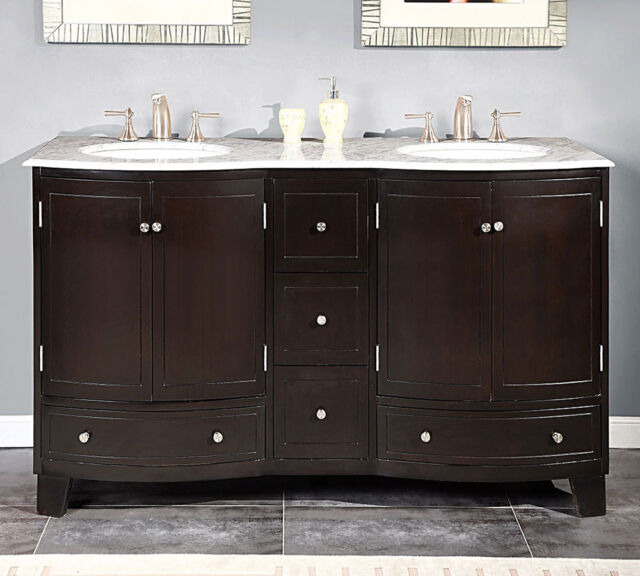 60 Inch Bathroom Double Vanity White Marble Counter Top Dual Sink Cabinet  0703WM