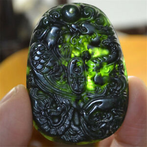 Natural-Black-Green-Jade-Chinese-Carved-Dragon-Phoenix-Necklace-Pendant-Gift