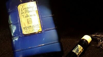 Vintage Evening in Paris Talcum 3 1/4 ozs & Perfume Vial Bourjois New York  NR