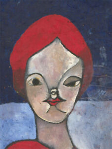 Ben-Carrivick-Signed-Contemporary-Oil-Red-Blue-Portrait
