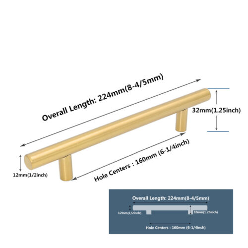 30Pack Gold Cabinet Handles Hardware Brass Cupboard Handles Kitchen Drawer Pulls