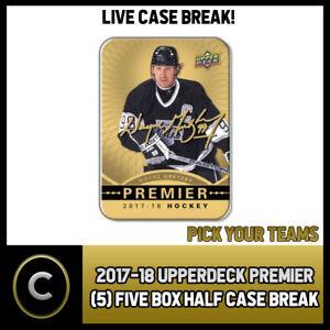 PICK YOUR TEAM 5 2017-18 UPPER DECK PREMIER BOX 1//2 CASE BREAK #H253