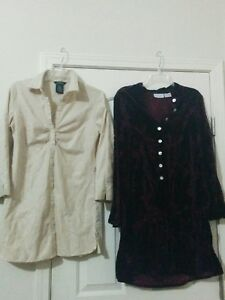 Womens-Mixed-Lot-Of-2-long-top-GEGRGE-STRETCH-M-8-10-JACLYN-SMITH-CLASSIC-M