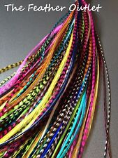 CUSTOM COLORS Lot Feather Hair Extensions Bulk Wholesale Grizzly Real U Choose