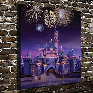 Image is loading Disney-Castle-Paintings-HD-Canvas-Print-24-034- & Disney Castle Paintings HD Canvas Print 24