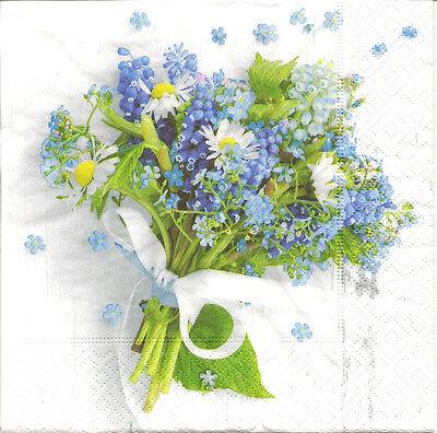 4 Single Paper Napkins for Decoupage Blue Flowers Bouquet Ribbon Bow
