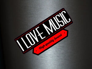 1 x Aufkleber I Love Music High Quality Sound Sticker DJ Tuning Musik Static Fun