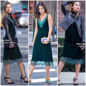 5fe8d07d RARE_NWT ZARA AW17 DARK GREEN LONG VELVET DRESS WITH LACE 2731 ...