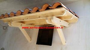 Pensilina//tettoia legno in abete massello Varie Misure con sporgenza 90 cm