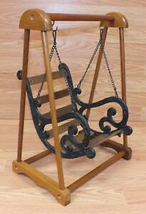 Details About Wood Cast Iron Porcelain Baby Doll Porch Swing For Play Purpose Only Read