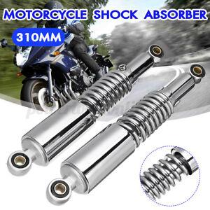 2x-310mm-Amortisseurs-Arriere-Ressorts-Suspension-Chrome-pour-Kawasaki-Yamaha