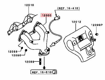 exhaust manifold 1997 1998 1999 2000 mitsubishi mirage 1.5l engine factory  oem!!  aumühle