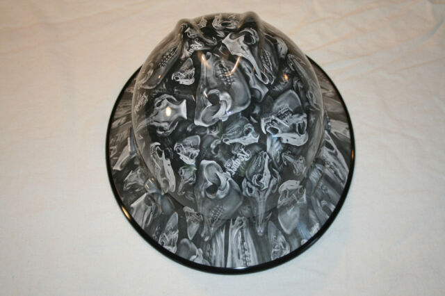 New Custom MSA V-Gard (Full Brim) Hard Hat W/Fas-Trac Ratchet Reaper Hogs