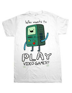 Adventure-Time-Finn-amp-Jake-BMO-Who-Wants-to-Play-Video-Games-T-Shirt-M-XL