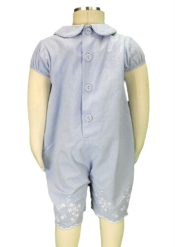 JACADI Girl/'s Traine Chambray Collared Short Sleeve Romper Sz 18 Months NWT $58