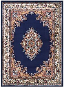 Persian Madallion Navy Blue Traditional Area Rugs Carpet