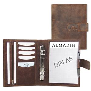 ALMADIH Leder Terminplaner A5 Organizer Ledermappe Konferenzmappe Schreibmappe