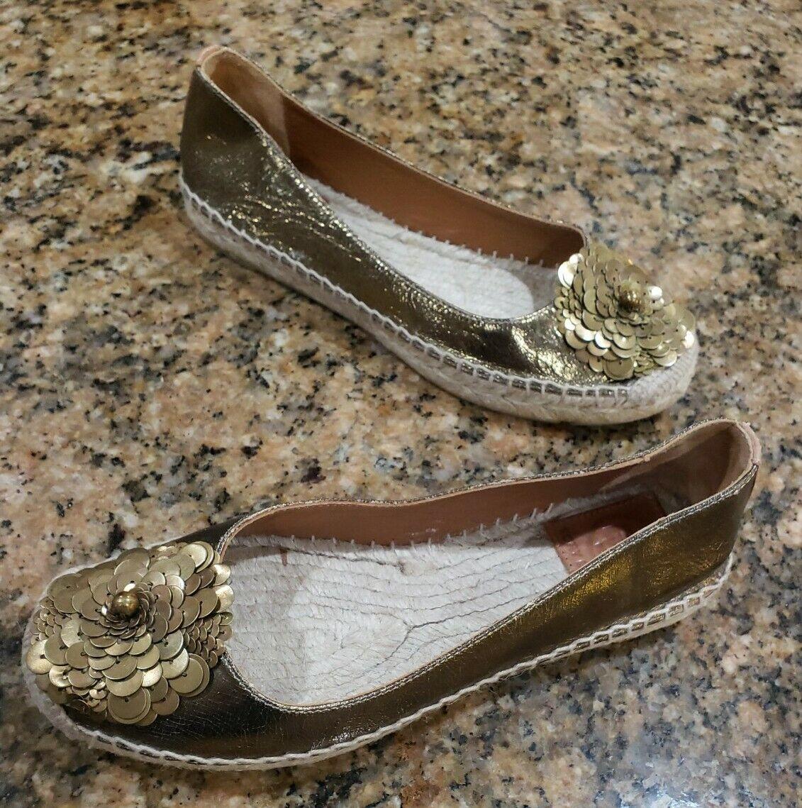 Tory Burch Espadrille Slip On Metallic Gold Flower Ballet Flats Womens Shoes 5