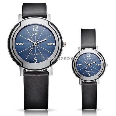 Round Dial Black Band Lover Couple's Quartz Watches Wristwatch Valentine's Gift