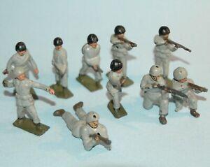vintage-1950-TIMPO-England-US-INFANTRY-WW2-Winter-Uniforms-10-figures-JOHILLCO