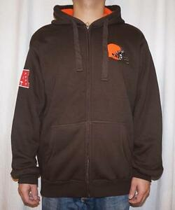 NWT Cleveland Browns NFL G-III Mens Team Color Fully Sherpa Lined Zip Up Hoodie