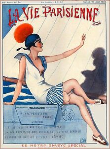 1920 La Vie Parisienne The Telegramme French France Travel Advertisement Poster