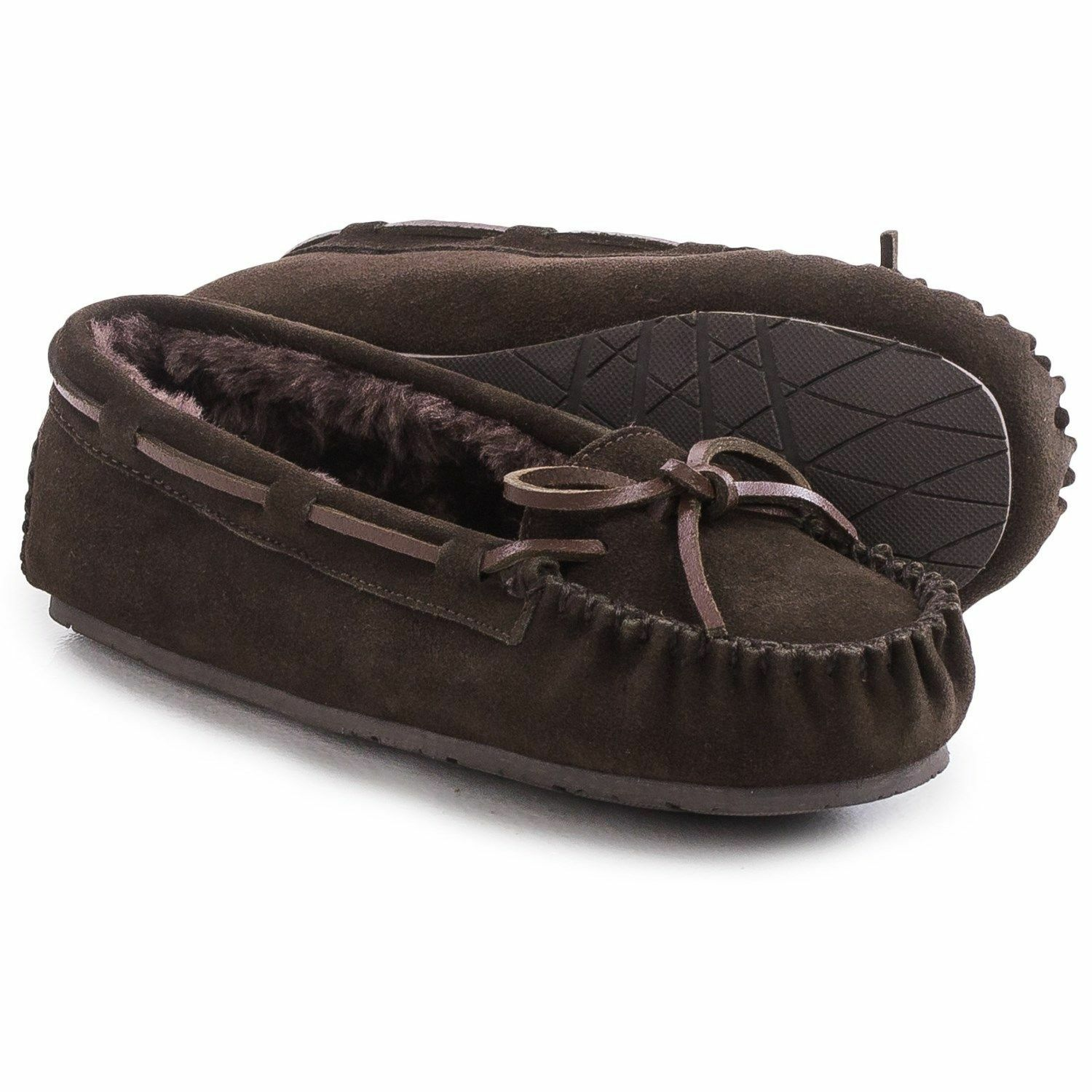 Clarks Indoor/Outdoor Women Brown Suede Bow Plush Lined Moccasin Slippers 8,9,10