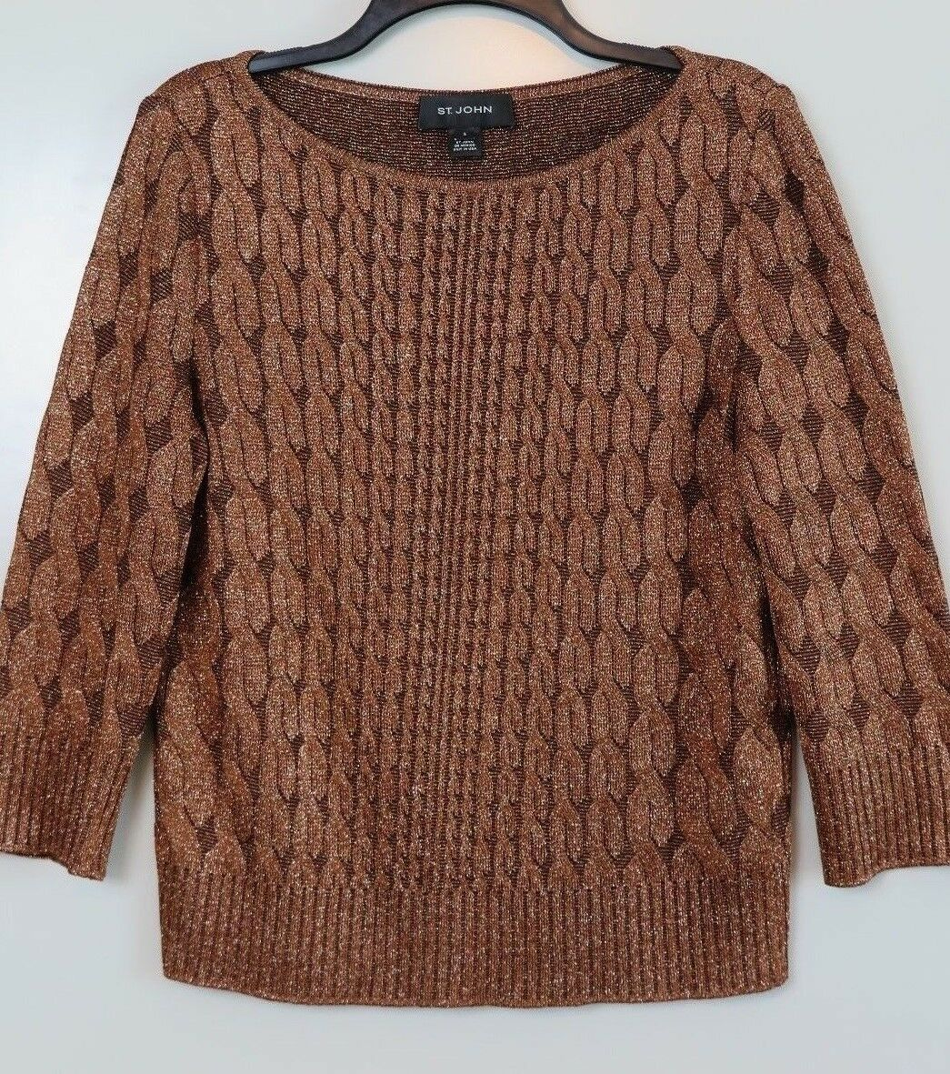 ST. JOHN Bronze Shimmer Acetate Wolle 3 4 Sleeve Cable-Texture Sweater Größe S