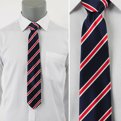 Man's Woven Jacquard Classic Slim Navy Neckties With Red-Ivory Stripes/W 2.75""