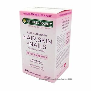 Nature-039-s-Bounty-HAIR-SKIN-and-NAILS-Extra-5000-mcg-Biotin-Argan-Oil-250-Softgels