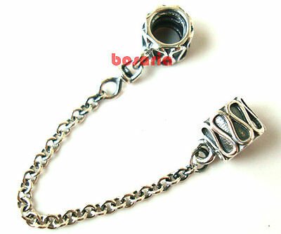925 Sterling Silver Curve Safety Chain Bead Fit European Charm Bracelet