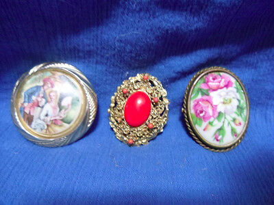 "Lot of 3 Vintage Costume Jewelry Brooches/Pins. One ""Made in Limoges, France"""