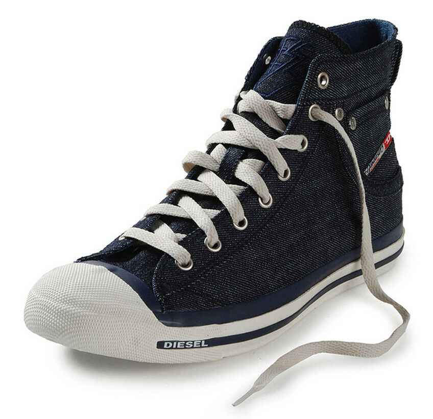 Diesel Exposure Hi Indigo Denim White Mens Canvas New Trainers Shoes Boots