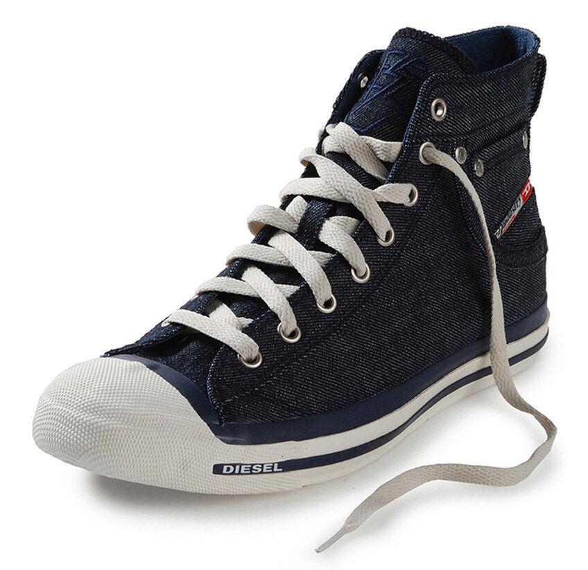 Diesel Exposure Hi Indigo Denim WEISS Mens Canvas New Trainers Schuhes Stiefel