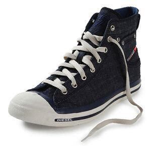 Diesel Exposure Hi Indigo Denim White Mens Canvas New Trainers Shoes ... 11923370ca