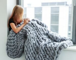 Chunky-Knit-Blanket-100-Merino-Wool-Chunky-Knit-Throw-Arm-Knitted-Blanket