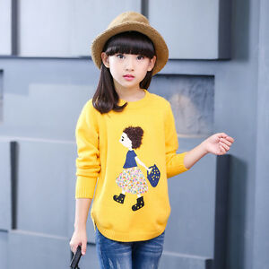 Autumn-girl-wearing-new-fashion-leisure-cartoon-round-neck-long-sleeve-Sweaters