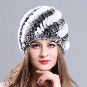 Best-Real-Farms-Rex-Rabbit-Fur-Beanie-Ski-Cap-Headwear-Women-Warm-Winter-Hat-Hot