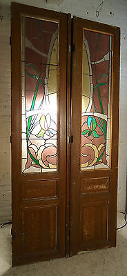 1864 NS Pair of Large Pitch Pine Stained Glass Doors