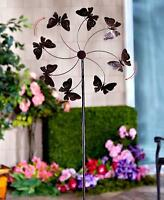Extra Large Bronze Pinwheel Metal Butterfly Wind Spinner Whirligig Garden Lawn