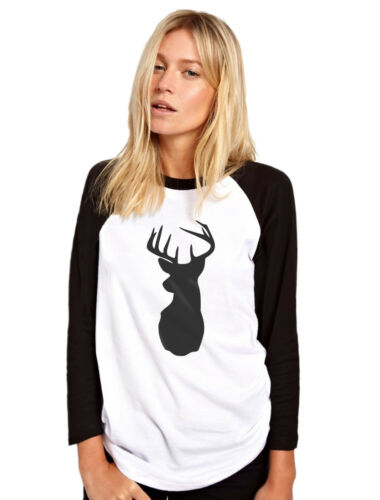 Reindeer Country Womens Baseball Top Stag