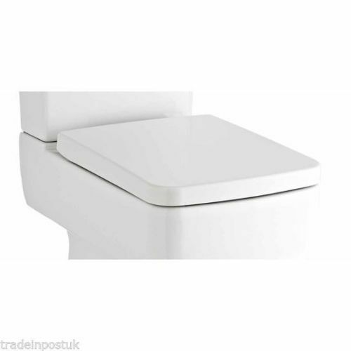 2x 36 cm Large SQUARE SOFT lent Fermer Siège de toilette TOP Fixation Easy Clean Blanc
