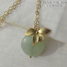 *Grüne Jade & wilde Orchidee* Anhänger-Kette Collier 585 Gold 14K GF Blume Blüte