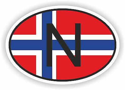 OVAL FLAG WITH N NORWAY COUNTRY CODE STICKER CAR MOTOCYCLE AUTO TRUCK