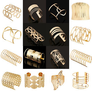 Punk-Women-Ladies-Gold-Plated-Hollow-Open-Wide-Bangle-Cuff-Bracelet-Jewelry-Gift